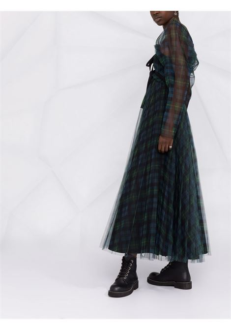Green/blue/black mesh-overlay tartan dress - women PHILOSOPHY DI LORENZO SERAFINI | A043457151362