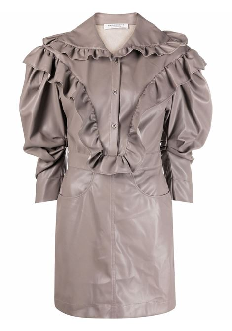 Ruffle-detail mini dress in grey - women  PHILOSOPHY DI LORENZO SERAFINI | A04355740492