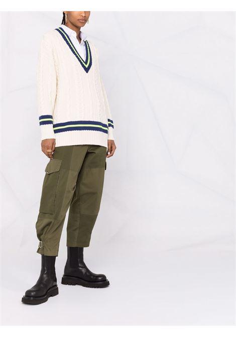 Ivory stripe-trimmed cable-knit jumper - women  PHILOSOPHY DI LORENZO SERAFINI | A090871071004
