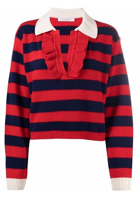 Maglione a righe con colletto stile polo in maglia con volant rosso e blu - donna PHILOSOPHY DI LORENZO SERAFINI | Maglie | A091757021290