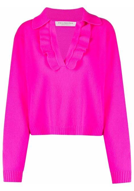 Maglione con colletto stile polo in maglia con volant rosa - donna PHILOSOPHY DI LORENZO SERAFINI | Maglie | A09175702217