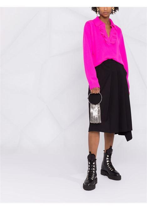 Ruffle-trim knitted polo collar jumper fuchsia pink - women  PHILOSOPHY DI LORENZO SERAFINI | A09175702217