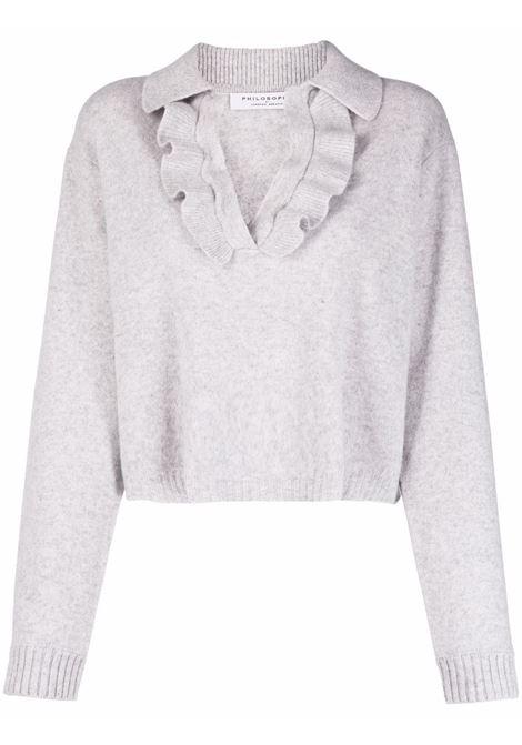 Maglione con colletto stile polo in maglia con volant grigio - donna PHILOSOPHY DI LORENZO SERAFINI | Maglie | A09175702481