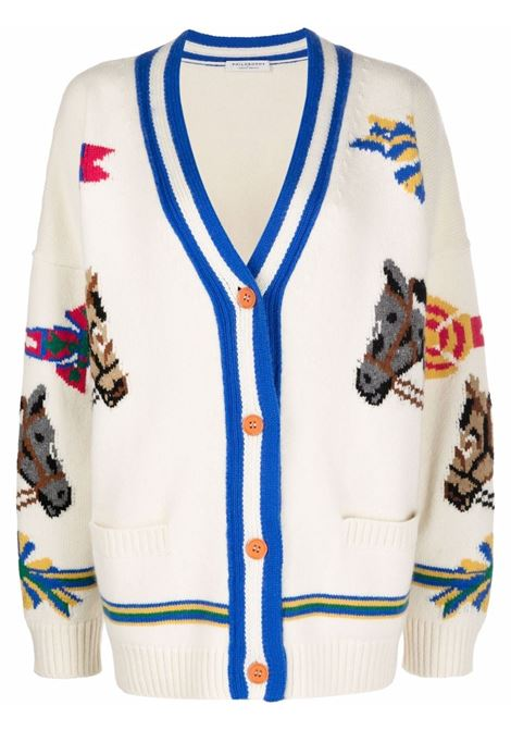Equestrian-knit cardigan in cream and multicolour - women  PHILOSOPHY DI LORENZO SERAFINI | A092157032003