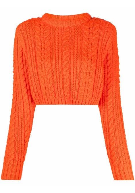 Orange cable-knit wool jumper - women  PHILOSOPHY DI LORENZO SERAFINI | A0927710634