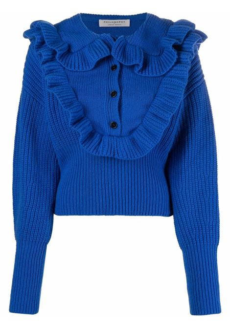Blue ruffle-collar jumper - women  PHILOSOPHY DI LORENZO SERAFINI | A09355703299
