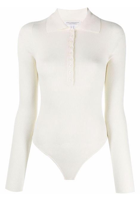 Ivory ribbed-knit buttoned body - women  PHILOSOPHY DI LORENZO SERAFINI | A118057013