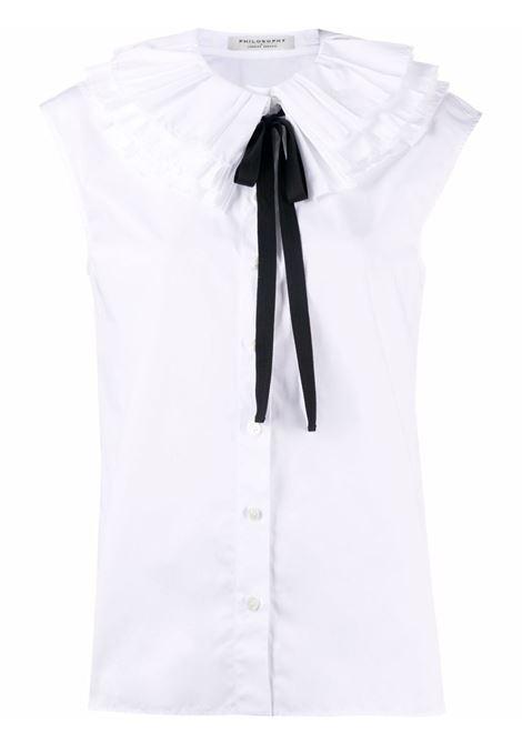Camicia con colletto con ruches bianco - donna PHILOSOPHY DI LORENZO SERAFINI | V021457171