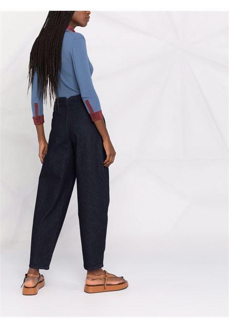 Darck blue high-rise tapered jeans - women PHILOSOPHY DI LORENZO SERAFINI | V03255730290