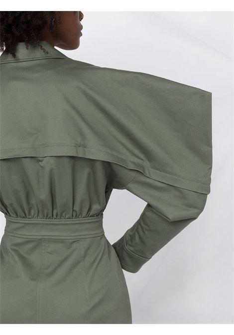 Puff-sleeved zip-up shirt dress in military-green - women  PHILOSOPHY DI LORENZO SERAFINI | V04265729430
