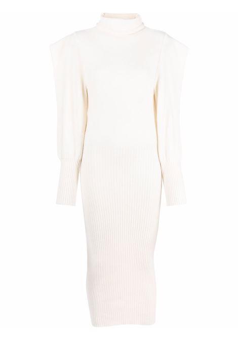 Structured-shoulder virgin wool dress in ivory - women  PHILOSOPHY DI LORENZO SERAFINI | V048257033