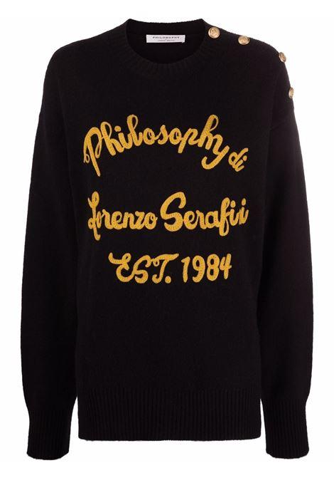 Appliqué-logo knitted jumper in black and orange - women PHILOSOPHY DI LORENZO SERAFINI | V09125703555