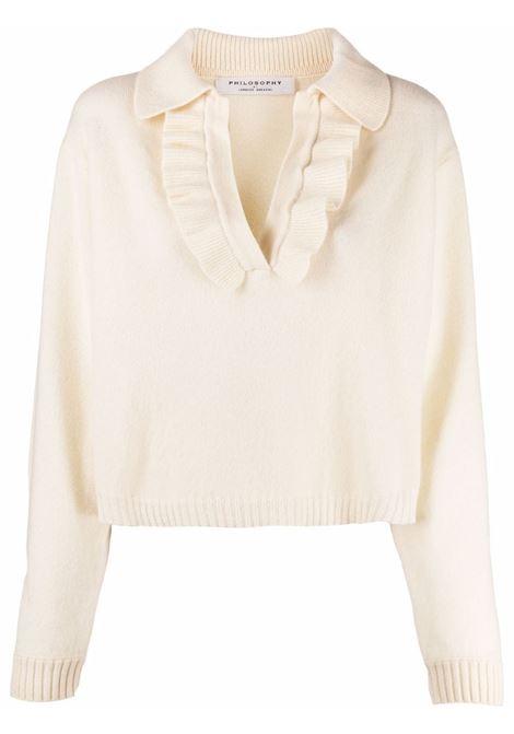 Maglione con colletto stile polo in maglia con volant crema - donna PHILOSOPHY DI LORENZO SERAFINI | Maglie | V091757024