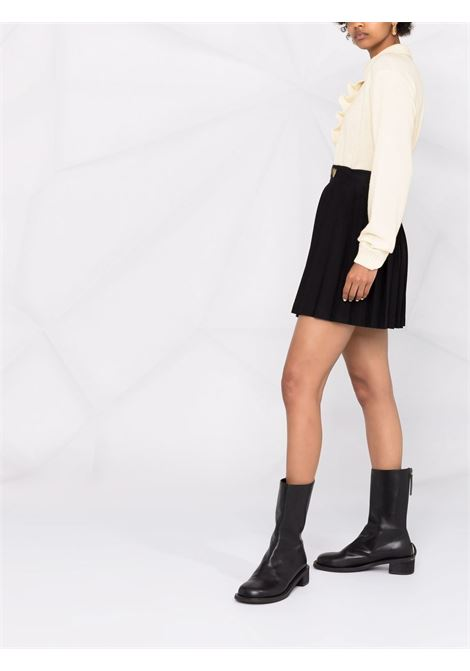 Ruffle-trim knitted polo collar jumper cream - women  PHILOSOPHY DI LORENZO SERAFINI | V091757024
