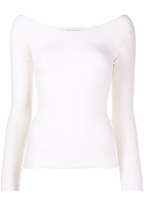 Ivory U-neck ribbed knitted jumper - women  PHILOSOPHY DI LORENZO SERAFINI | V092171004