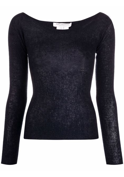 Blue U-neck ribbed knitted jumper - women  PHILOSOPHY DI LORENZO SERAFINI | V09217100510