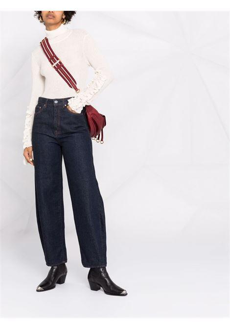 Ribbed-knit ruffled-sleeves jumper cream - women PHILOSOPHY DI LORENZO SERAFINI | V092357053
