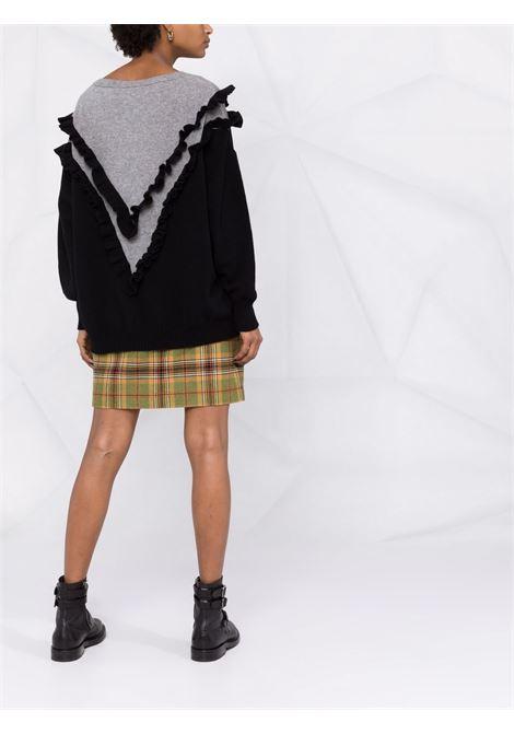 Ruffled-trim v-neck jumper grey and black - women  PHILOSOPHY DI LORENZO SERAFINI | V092657022555