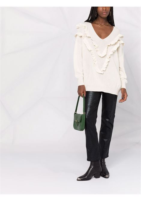 Ruffled-trim v-neck jumper cream - women  PHILOSOPHY DI LORENZO SERAFINI | V092657024