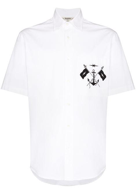 Marine-logo short-sleeve shirt in white - men  PHIPPS | S014MA2C001203001