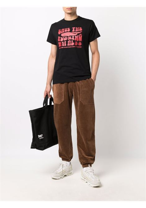 Slogan-print short-sleeved T-shirt in black and blood red - men  PHIPPS | T0012MA2J000601001