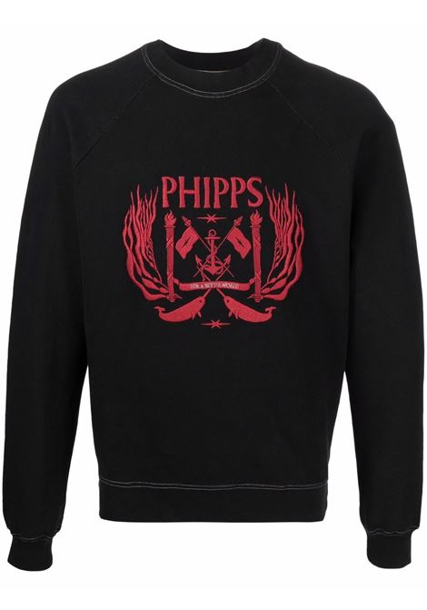 Embroidered-logo crewneck sweatshirt in black and red - men  PHIPPS | T002MA2J000101001