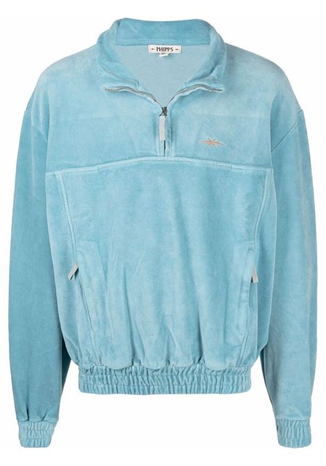 Embroidered-logo pullover belt sweatshirt in  ice blue - men PHIPPS | T010MA2J000406006