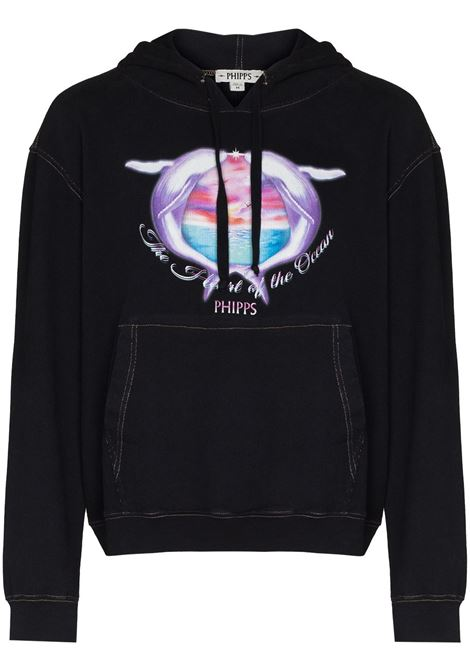 Whale print hooded sweatshirt in black - men  PHIPPS | T018MA2J000106003