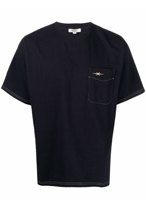 Logo-embroidered cotton T-shirt in navy blue - men PHIPPS | T045MA2J000906003