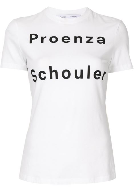 T-shirt con logo a contrasto in bianco - donna PROENZA SCHOULER | WL2124226JC144100