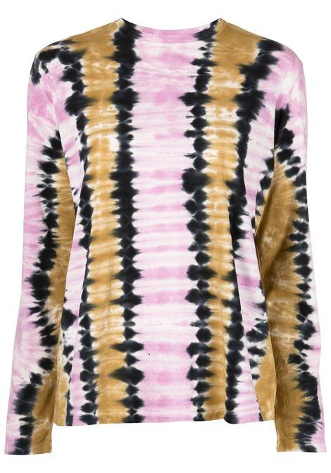 Tie-dye long-sleeve T-shirt in pink, olive-green and black - women PROENZA SCHOULER | WL2134237JCT144VRT352