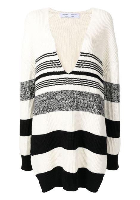 Maglione lungo con scollo a v ecru e nero - donna PROENZA SCHOULER | WL2137647KC090115