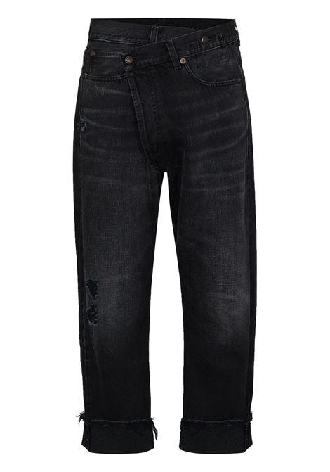 Jeans crop con la chiusura asimmetrico in nero - donna R13 | R13W2048394101A