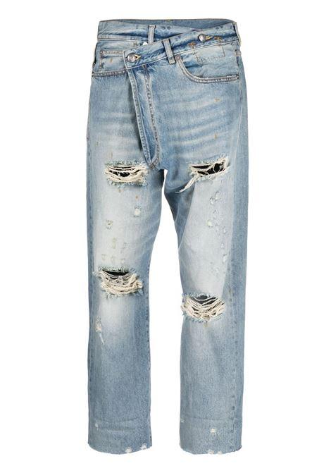 Jeans crop con la chiusura asimmetrico in azzurro - donna R13 | R13W2048747488A