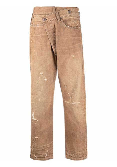 Jeans crop con la chiusura asimmetrico in beige - donna R13 | R13W2048D011D