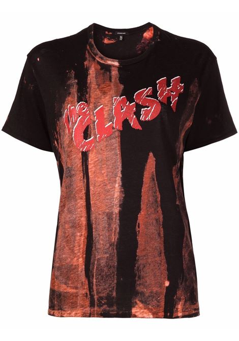 Graphic-print short-sleeve T-shirt in black and dust red - women R13   R13W362001BB75