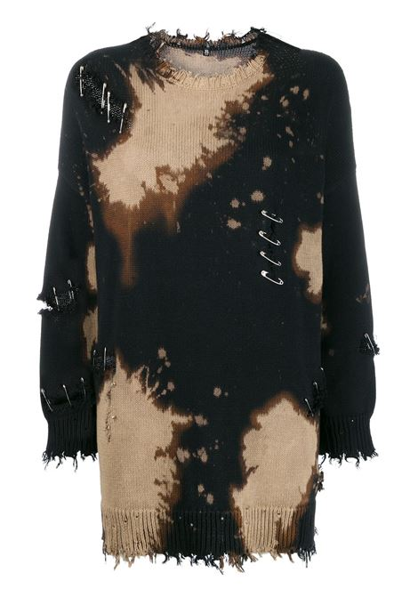 Distressed jumper with safety pins in multicolour - women R13   R13W395039180