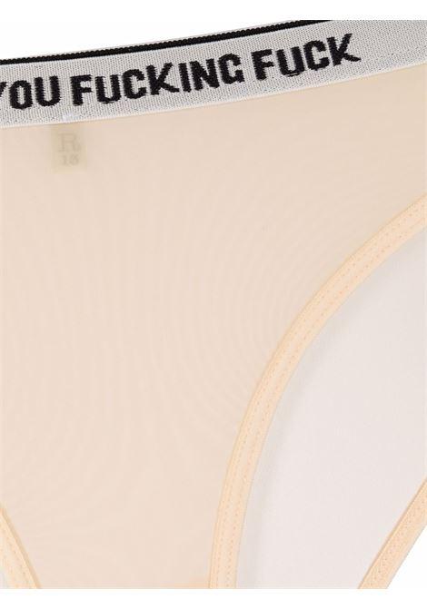 Slip con vita elasticizzata con logo in beige - donna R13 | R13WK034K001L