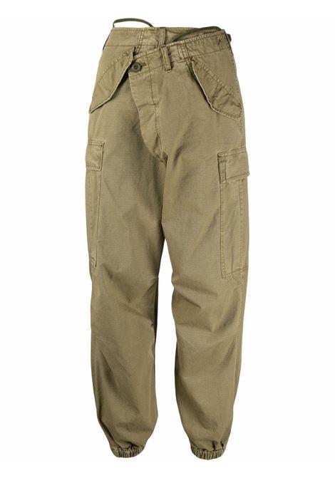 Wrap-fastening cargo trousers in olive green - women R13   R13WR005R006B