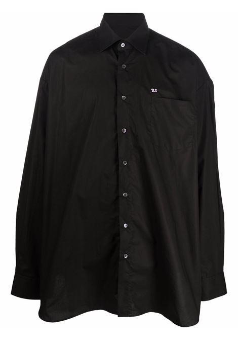 Black embroidered-logo shirt - men  RAF SIMONS | 212250100070099