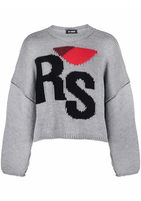 Grey logo-intarsia oversize jumper - unisex RAF SIMONS | 212845B500040080
