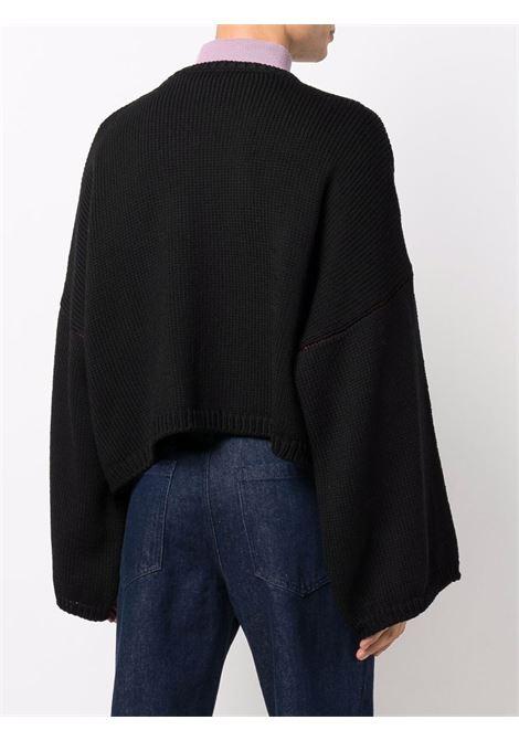Black logo-intarsia oversize jumper - unisex RAF SIMONS | 212845B500040099