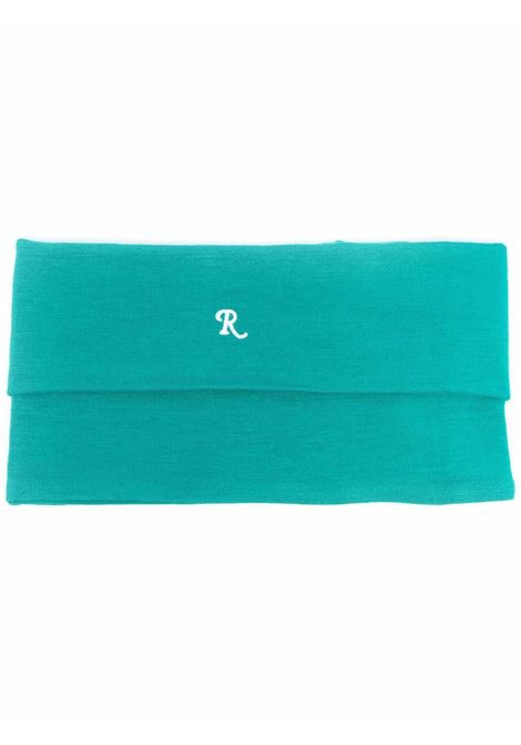 Logo-embroidered roll-neck scarf in teal green - unisex RAF SIMONS | 212944190162710