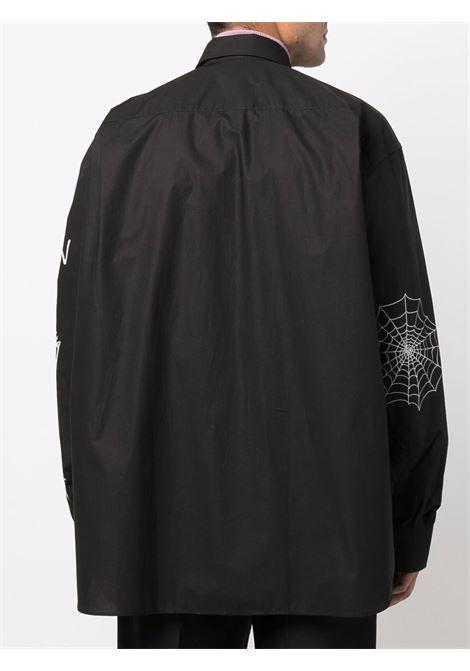 Black embroidered-logo shirt - men  RAF SIMONS | 212M293A100070099
