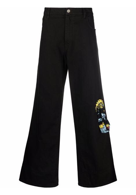 Black graphic-print wide-leg jeans - men  RAF SIMONS | 212M315100320099