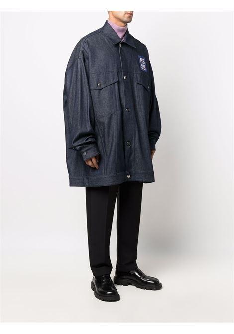Navy blue logo-print denim shirt jacket - men  RAF SIMONS | 212M723100310044