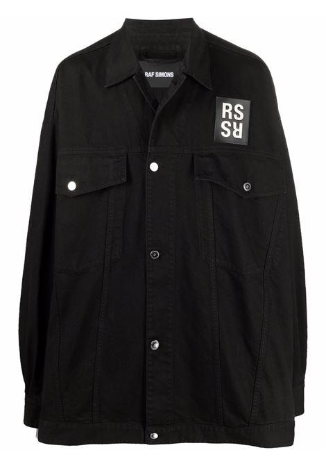 Black logo-print denim shirt jacket - men  RAF SIMONS | 212M723100320099