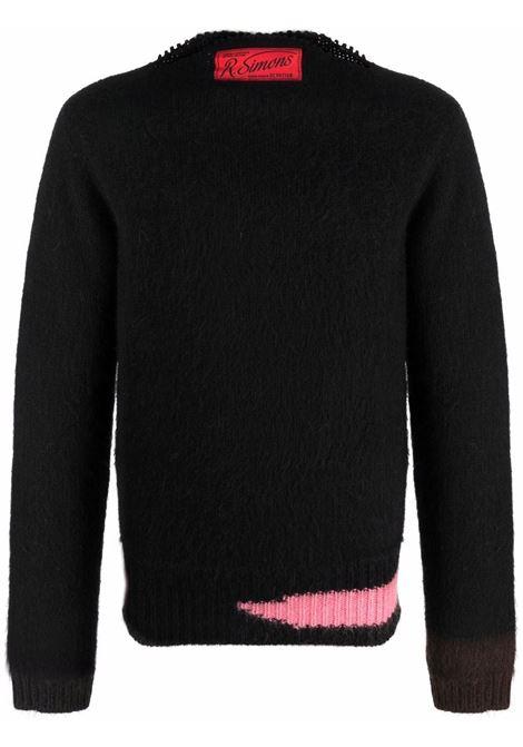 Black logo-patch brushed-effect jumper - men  RAF SIMONS | 212M836500039931