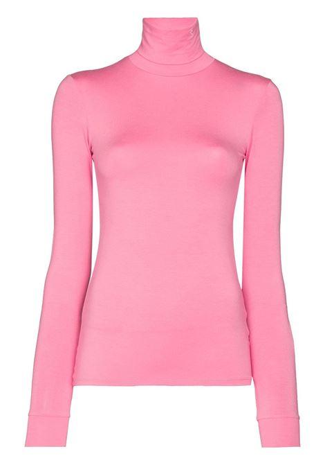 Top con logo a collo alto in rosa - donna RAF SIMONS   212W150190163110