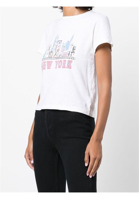 T-shirt con stampa New York in bianco - donna RE/DONE   0242WCGT198VNTGWHT